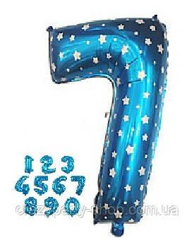 Шар фольгированный Цифра голубая со звёздочками
