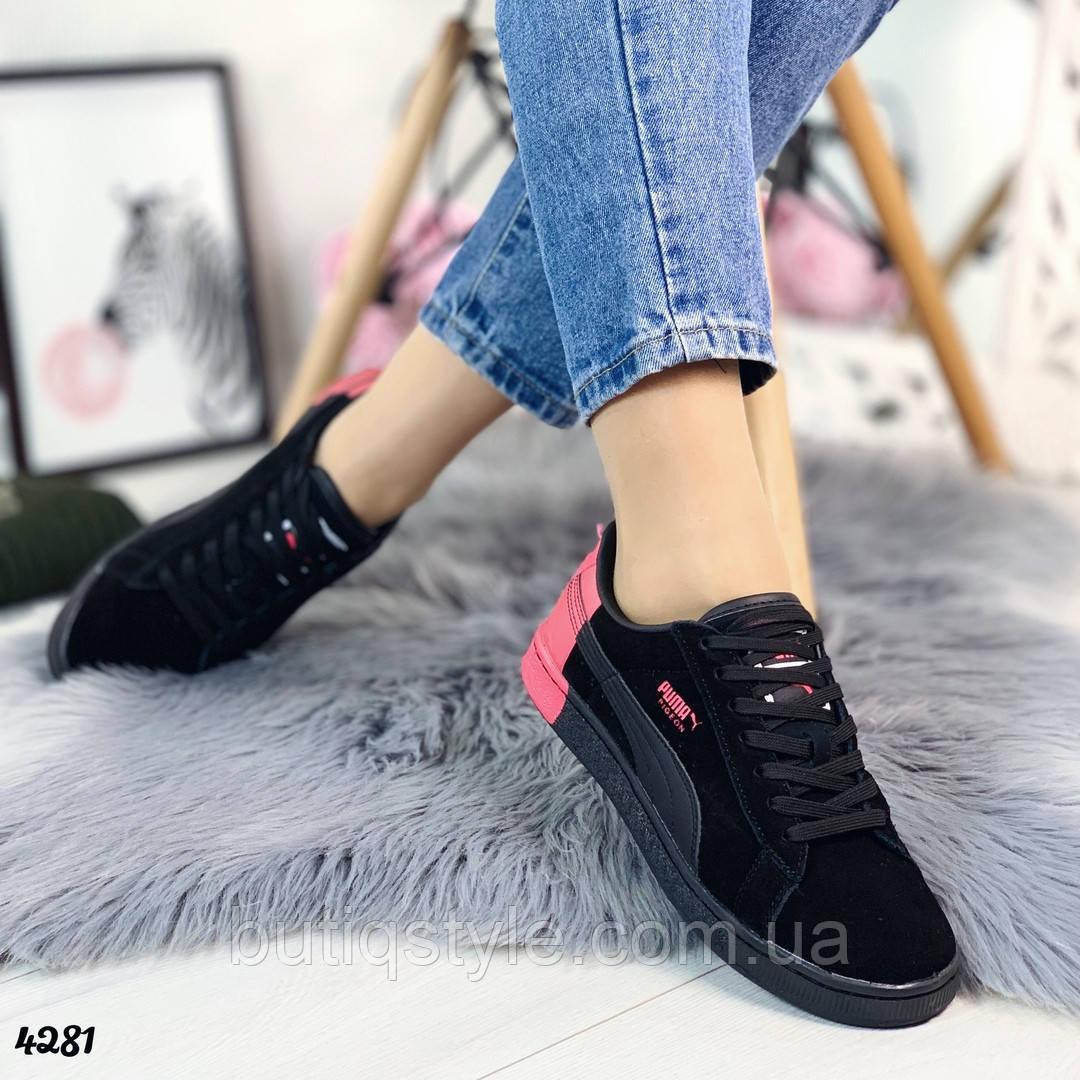 Женские черные кеды под бренд с розовыми вставками натуральный замш, 2019