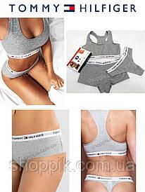 Женское нижнее белье Tommy Hilfiger 3в1 (стринги, шортики, топик) реплика . Серый набор