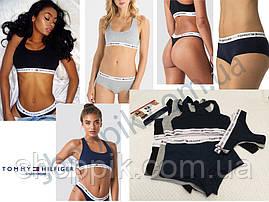 Женское нижнее белье Tommy Hilfiger 3в1 ( стринги шорты топ ) реплика . Черный набор, фото 2