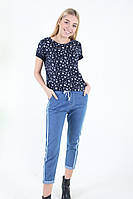 Женские джинсы -капри с полоской , фото 1