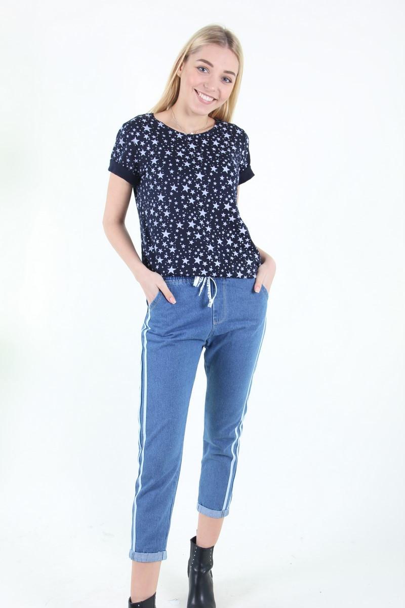 Женские джинсы -капри с полоской