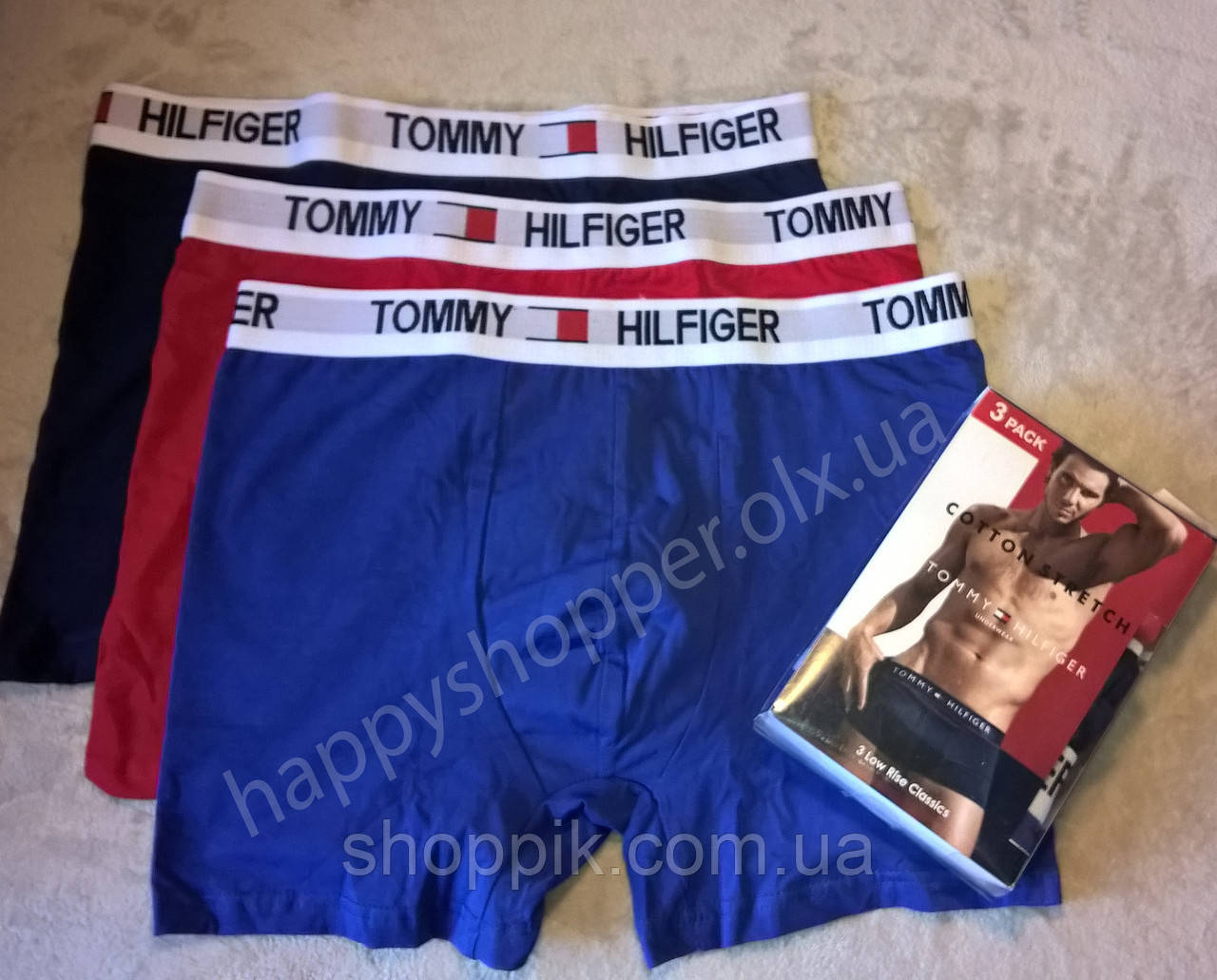 Мужские трусы Tommy Hilfiger боксеры хлопок, 3 шт. в уп.  Реплика