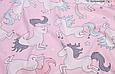 Сатин (хлопковая ткань) на розовом крупный единорог, фото 3