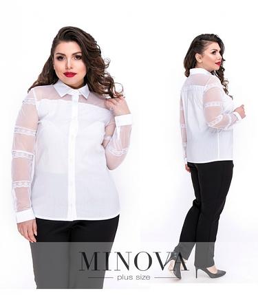 Блуза на пуговицах с прозрачными вставками р. 48,50,52, фото 2