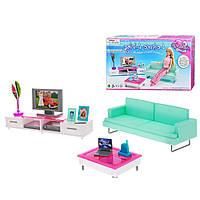 Кукольная мебель Глория Gloria 2804 Гостиная Барби, диван, телевизор, журнальный столик