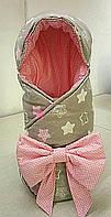 Демисезонный конверт-одеяло с капюшоном для выписки, прогулок в коляске. Бант трансформируется в подушку., фото 1