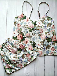 Женская пижама шорты и майка 100% хлопок в цветы