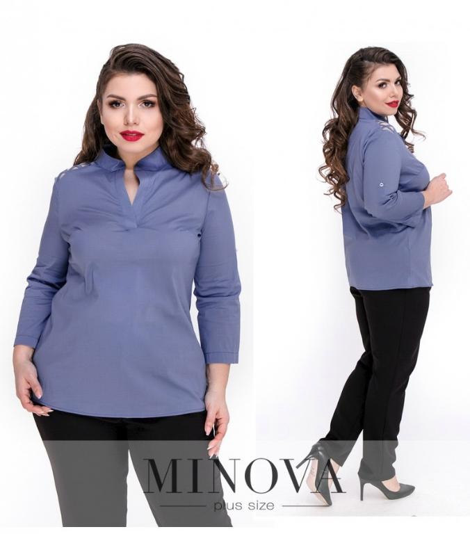Блуза прямого кроя с V-образным вырезом и рукавами ¾ р. 48,50