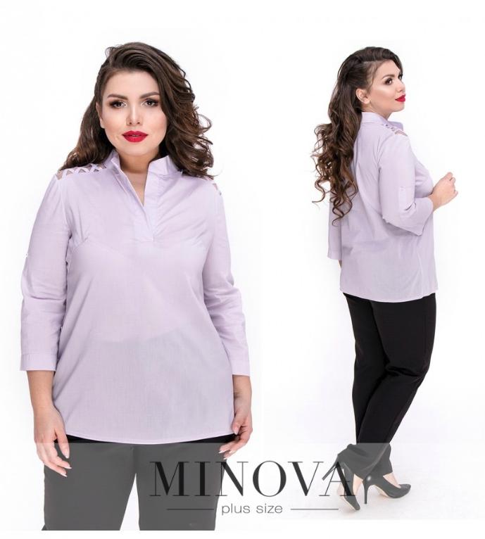 Блуза прямого кроя с V-образным вырезом и рукавами ¾ р. 48