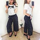 Женские брюки-кюлоты в полоску, модные брюки-кюлоты, полосатые брюки-кюлоты, брюки-кюлоты в горох. , фото 6