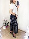 Женские брюки-кюлоты в полоску, модные брюки-кюлоты, полосатые брюки-кюлоты, брюки-кюлоты в горох. , фото 7
