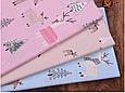 Сатин (хлопковая ткань) на розовом лоси и елки, фото 3
