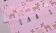 Сатин (хлопковая ткань) на розовом лоси и елки, фото 2