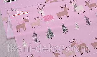 Сатин (хлопковая ткань) на розовом лоси и елки
