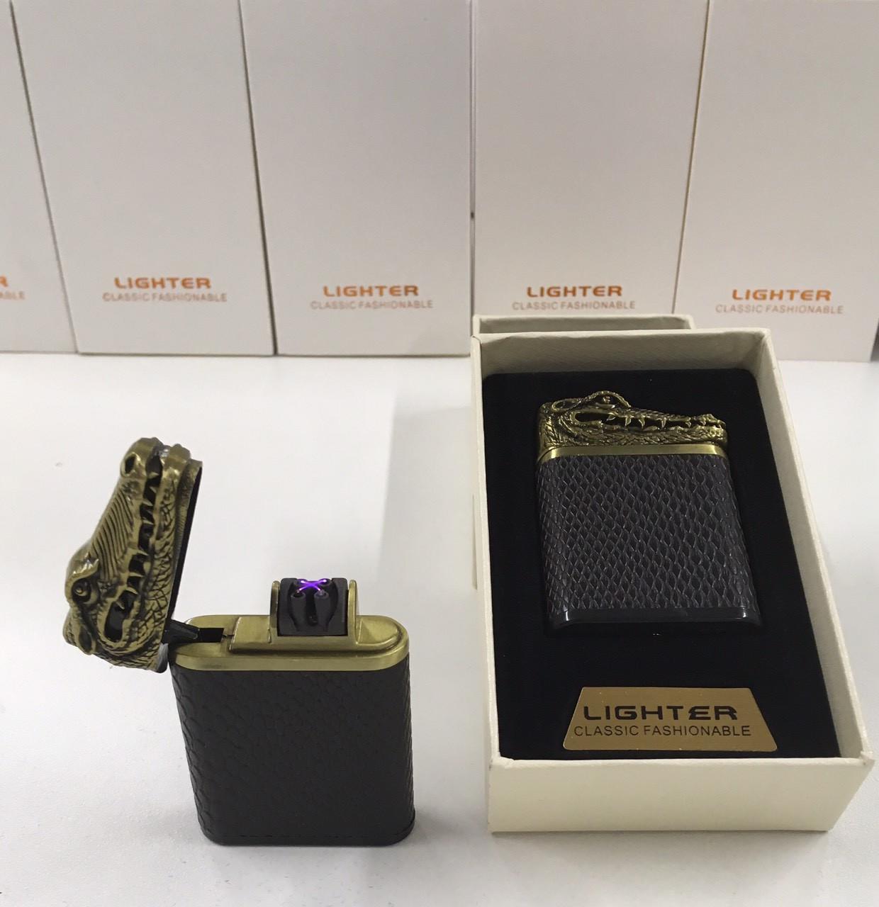 Металлическая беспламенная зажигалка двойной дуги для сигарет аккумуляторная электронная с USB аллигатор