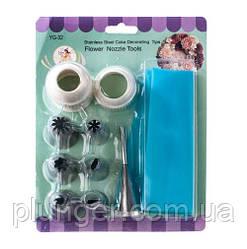 Набор кондитерских насадок с силиконовым мешком, адаптером и насадкой для эклеров