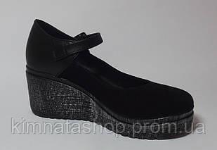 Туфлі жіночі шкіряні чорні Sara В Black Leather, розмір 36-40