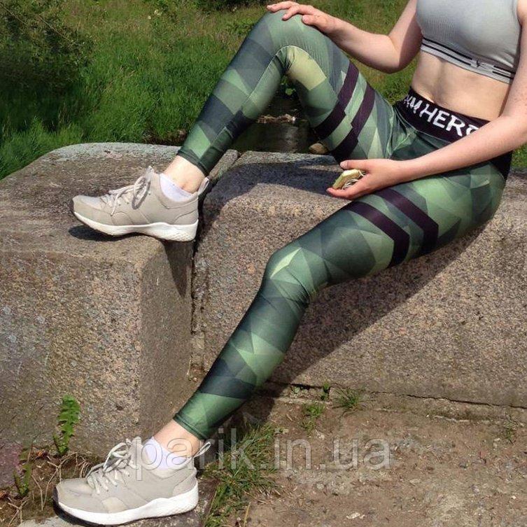 Камуфляжные лосины для фитнеса леггинсы для спорта камуфляж(М) №11