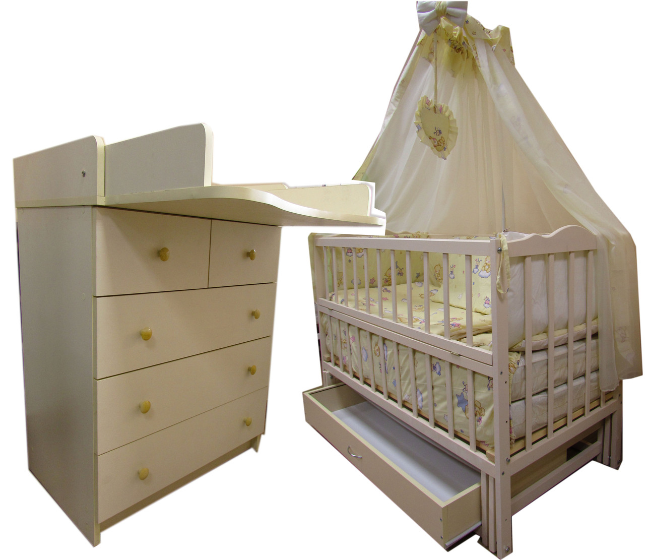 """Акция! Комплект """"Малыш с комодом грибочек"""" ваниль: Комод+ кроватка маятник+ матрас кокос + постельный набор"""