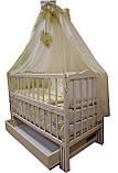 """Акция! Комплект """"Малыш с комодом грибочек"""" ваниль: Комод+ кроватка маятник+ матрас кокос + постельный набор, фото 5"""