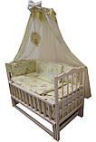 """Акция! Комплект """"Малыш с комодом грибочек"""" ваниль: Комод+ кроватка маятник+ матрас кокос + постельный набор, фото 6"""