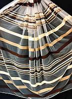 Тюль на основе фатина полоса Мурат (крем+венге)