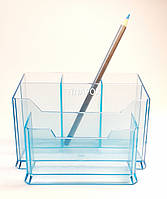 Подставка органайзер для кистей, пилочек, косметики, голубая