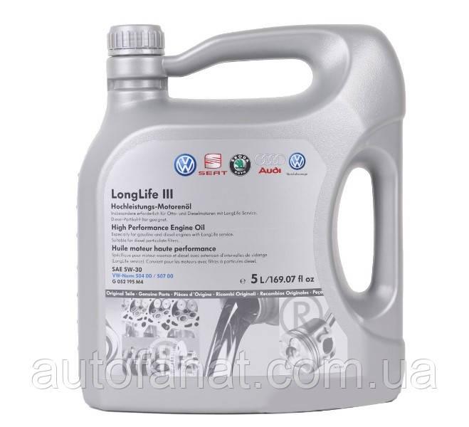 Моторное масло VAG LongLife III 5W-30 5л (G052195M4)