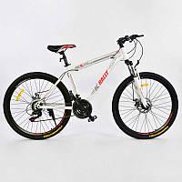 "Велосипед Спортивный CORSO 26""дюймов 0010 - 8345 WHITE-RED K-Rally (1)"