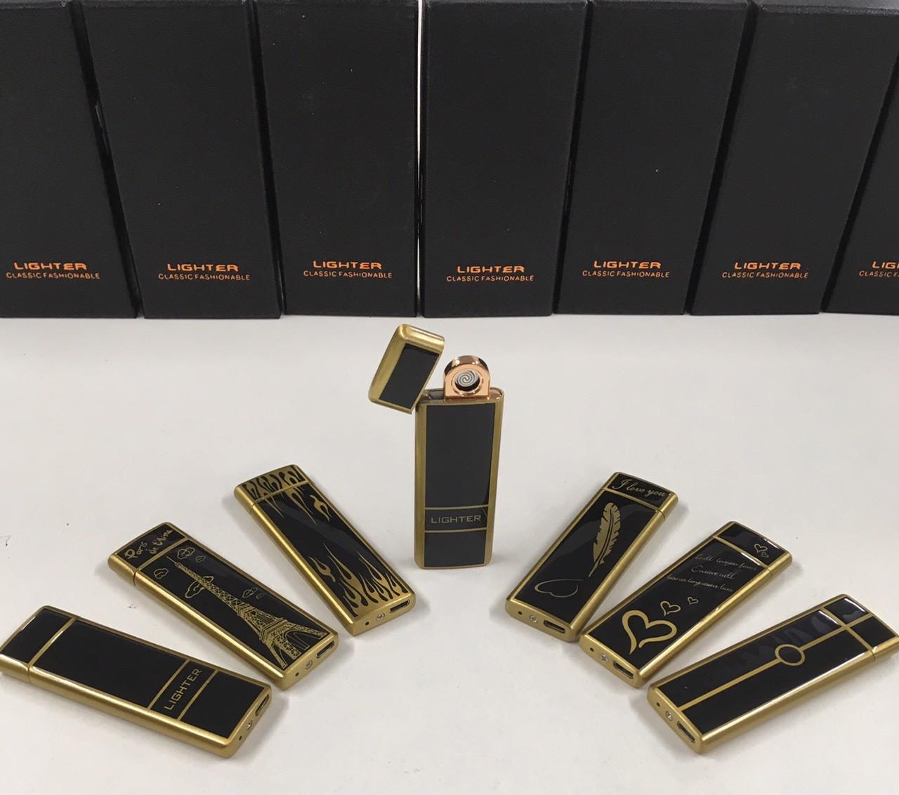 Металлическая беспламенная зажигалка Lighter classic fashionable для сигарет аккумуляторная электронная с USB