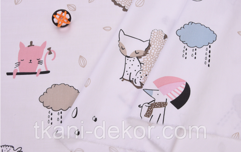 Сатин (хлопковая ткань) котики, собачки с зонтиками