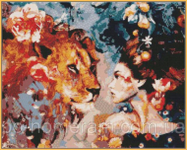 Димитра Милан алмазная вышивка на подрамнике Ее лев