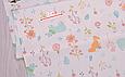 Сатин (хлопковая ткань) мятные мишки в цветах, фото 2
