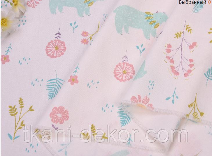 Сатин (хлопковая ткань) мятные мишки в цветах