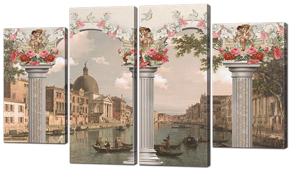 Модульная картина Interno Эко кожа Ретро Венеция 126x73см (A907L)