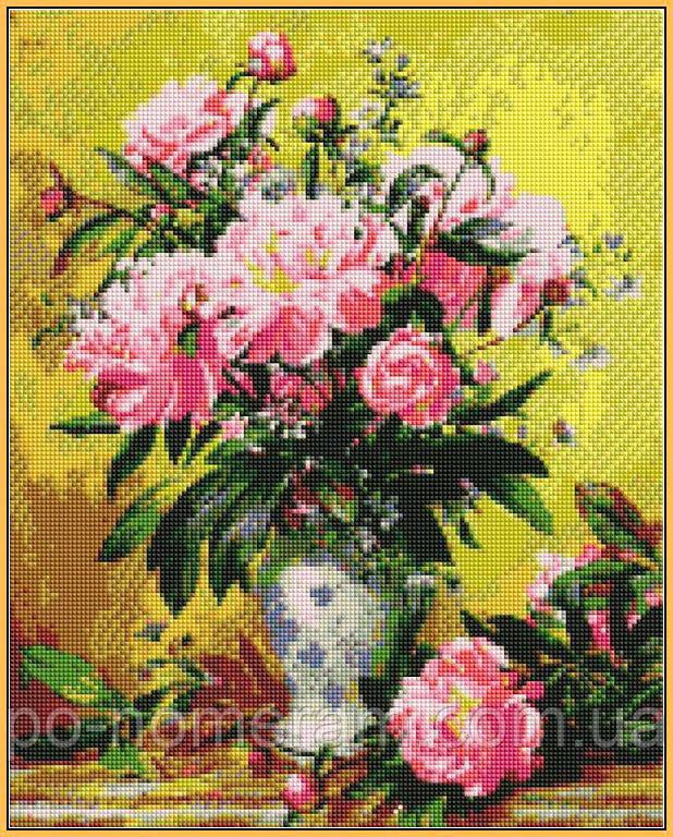 Алмазная мозаика на подрамнике розовые пионы