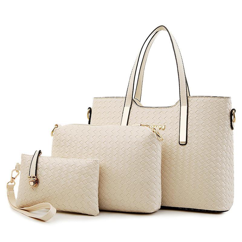 Женская сумка набор 3в1 + маленькая сумочка и клатч белый опт