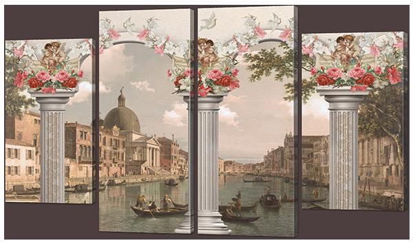 Модульная картина Interno Эко кожа Ретро Венеция 166х98см (A907XXL)