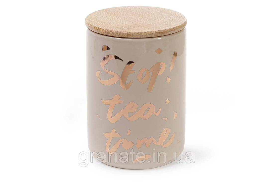 Банка фарфоровая с бамбуковой крышкой Tea time, цвет - кремовый с золотом