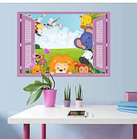 """Интерьерная наклейка в детскую """"Окно со зверятами SK7019D"""""""