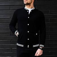 Бомбер мужской трикотажный / куртка весенняя / летняя черный