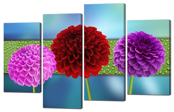 Модульная картина Interno Холст Цветные Пионы 114х69см (R912М)