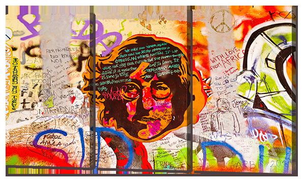 Модульная картина Interno Эко кожа Леннон граффити 84х47см (А754S)