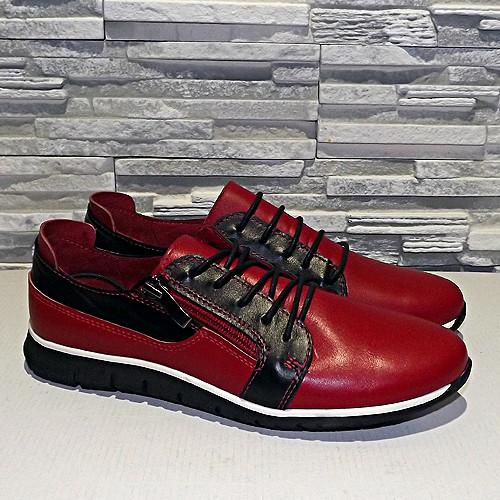 Туфли женские кожаные на шнурках