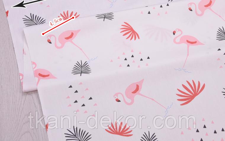 Сатин (бавовняна тканина) фламінго рожевий середній