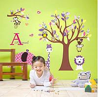 """Интерьерная наклейка в детскую """"Дерево со зверятами CC6919 """""""