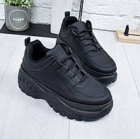 Кроссовки женские черные на платформе ОМ - 8811
