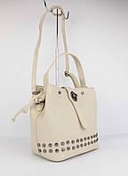 Кожаная сумочка vera pelle 323919-2 бежевая, италия, фото 1