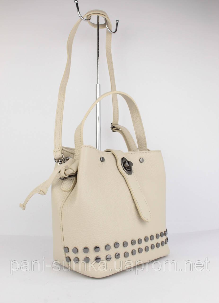 6886d1f8f5e2 Кожаная сумочка vera pelle 323919-2 бежевая, италия - Интернет магазин